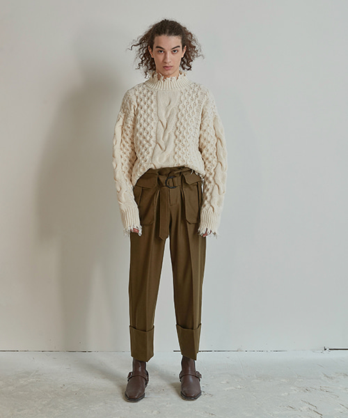 [ORDER MADE] POCKET DETAILED WOOL PANTS (KHAKI)