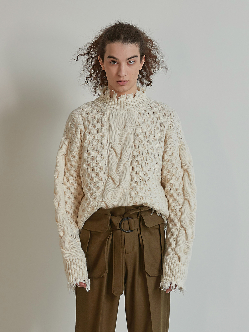 DAMAGE WASHED WOOL KNIT (OFFWHITE)
