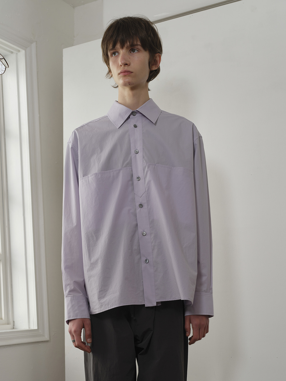 PLACKET DETAIL L/S SHIRT LILAC