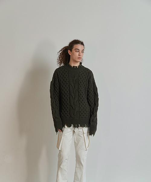DAMAGE WASHED WOOL KNIT (DEEPGREEN)