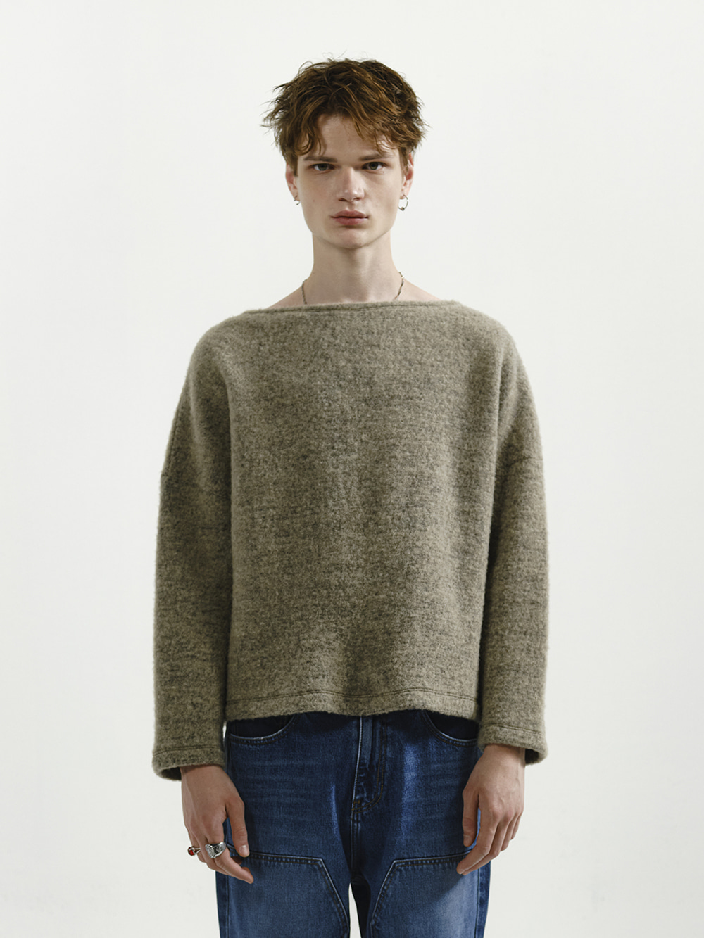 BRUSHED WOOL BOAT NECK TOP