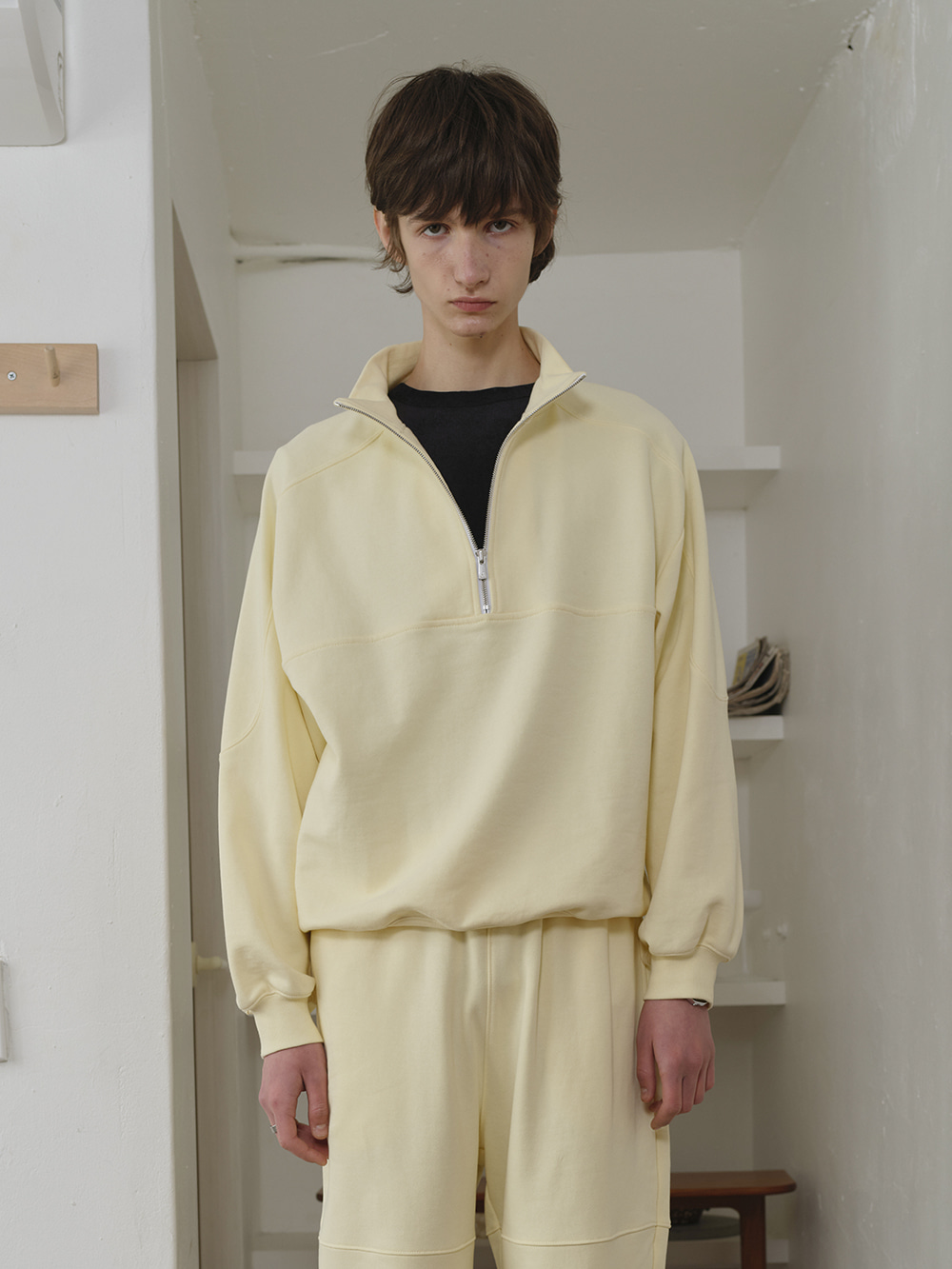 HALF ZIP SWEAT SHIRT PALE YELLOW